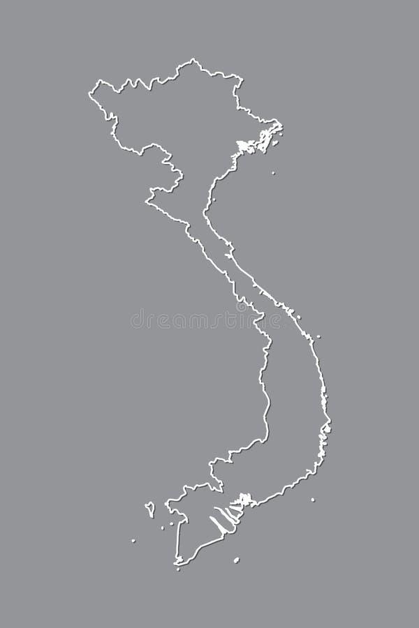 Wietnam wektorowa mapa z pojedynczą rabatowej linii granicą używać białego kolor na ciemnej tło ilustracji zdjęcie royalty free