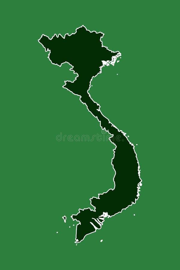 Wietnam wektorowa mapa z pojedynczą rabatowej linii granicą używać zielonego koloru teren na ciemnej tło ilustracji zdjęcia royalty free