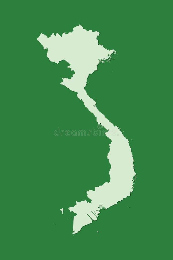 Wietnam wektorowa mapa z pojedynczym gruntowym terenem używać zielonego kolor na ciemnej tło ilustracji fotografia royalty free