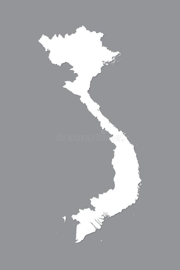 Wietnam wektorowa mapa z zintegrowanym gruntowym terenem używać białego kolor na ciemnej tło ilustracji obrazy royalty free