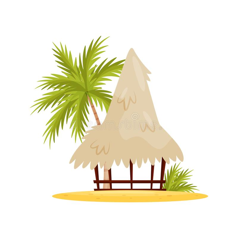 Wietnamczyka plażowy bungalow, drzewko palmowe i zieleń liście, Mała drewniana buda Płaski wektorowy projekt ilustracja wektor