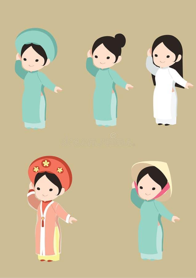 Wietnamska dziewczyna w tradycyjnej sukni ilustracji