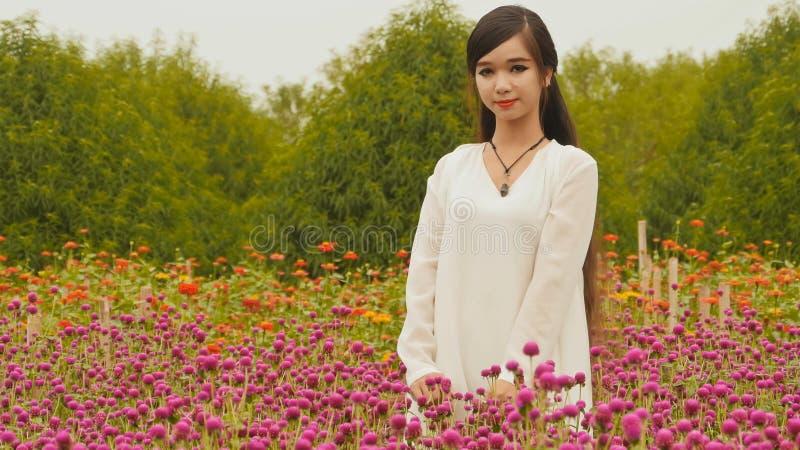 Wietnamska dziewczyna z długą czarni włosy pozycją w plantaci purpurze kwitnie Wietnam obrazy royalty free