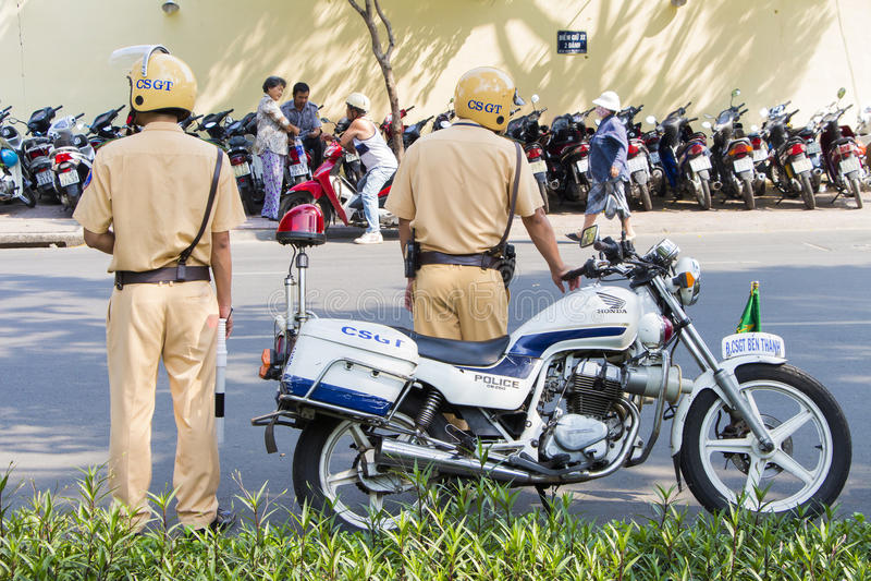 Wietnamska ruch drogowy kontrola policja obrazy stock
