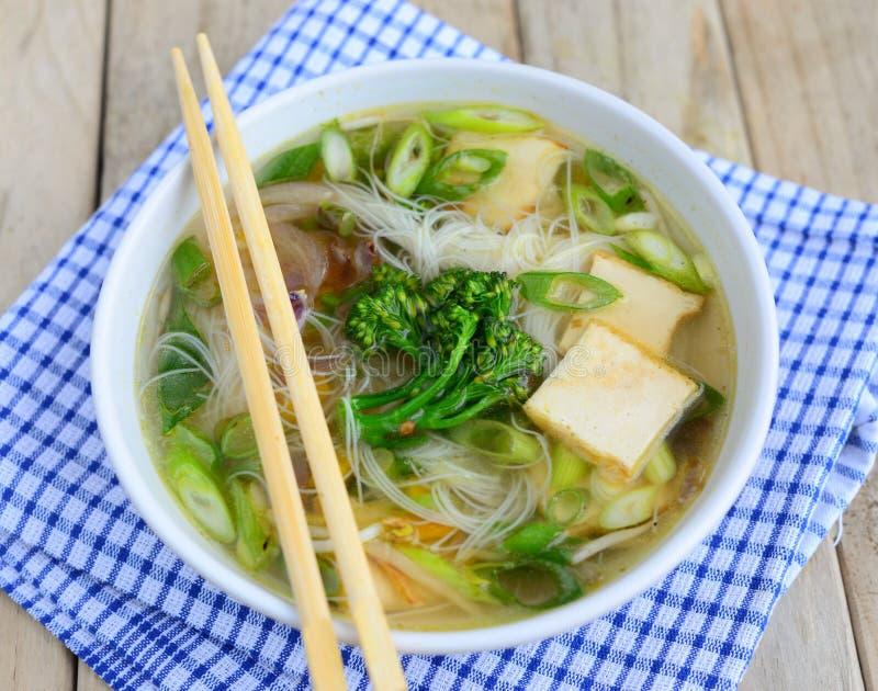 Wietnamska Ryżowego kluski polewka z warzywami i tofu fotografia royalty free