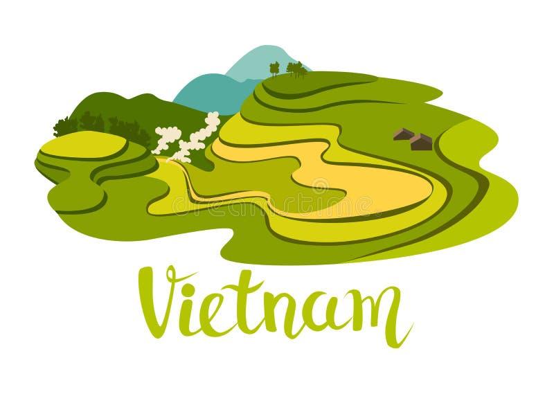 Wietnamska ryżu pola wektoru ikona Abstrakcjonistyczna azjatykcia łąka z rośliną ilustracja wektor