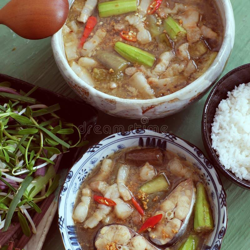Wietnamski jedzenie dla dziennego posiłku, mama kho fotografia stock