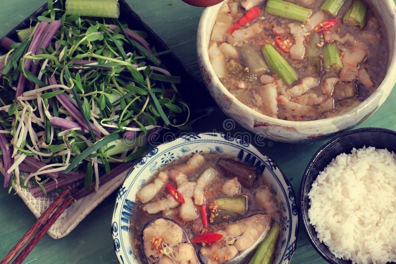 Wietnamski jedzenie dla dziennego posiłku, mama kho zdjęcia stock