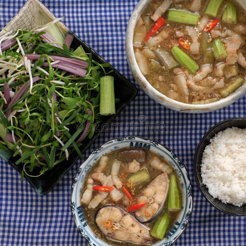 Wietnamski jedzenie dla dziennego posiłku, mama kho obraz stock