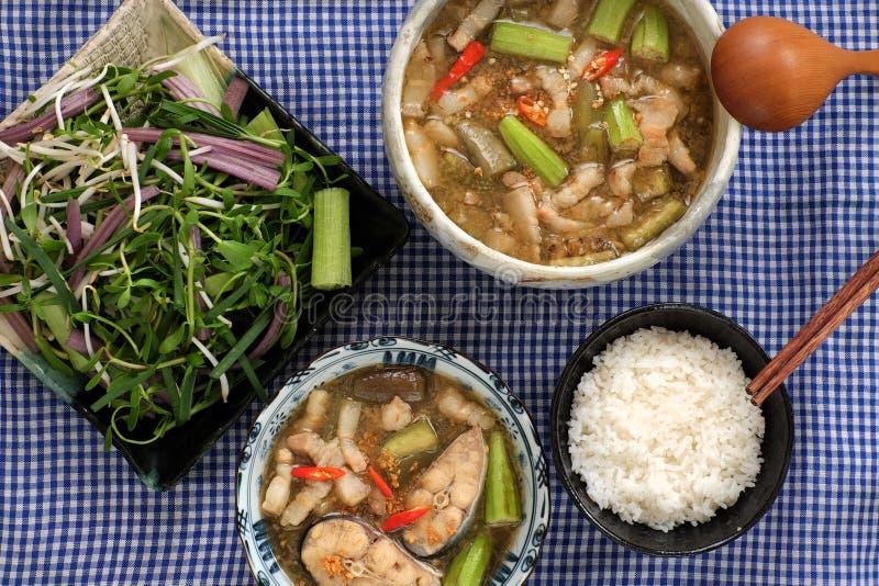 Wietnamski jedzenie dla dziennego posiłku, mama kho zdjęcia royalty free