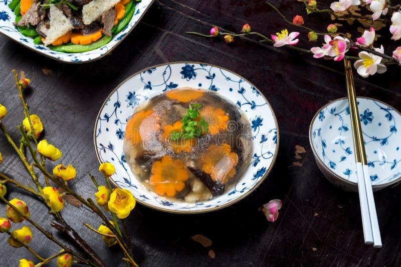 Wietnamski jedzenie dla Tet wakacje galaretowaciejący mięso zdjęcie stock