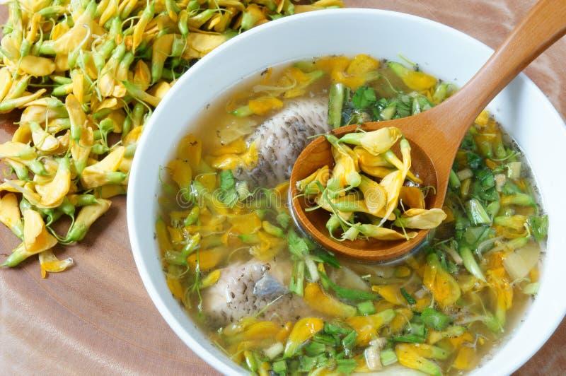 Wietnamski jedzenie, podśmietanie rybia jarzynowa polewka zdjęcia royalty free