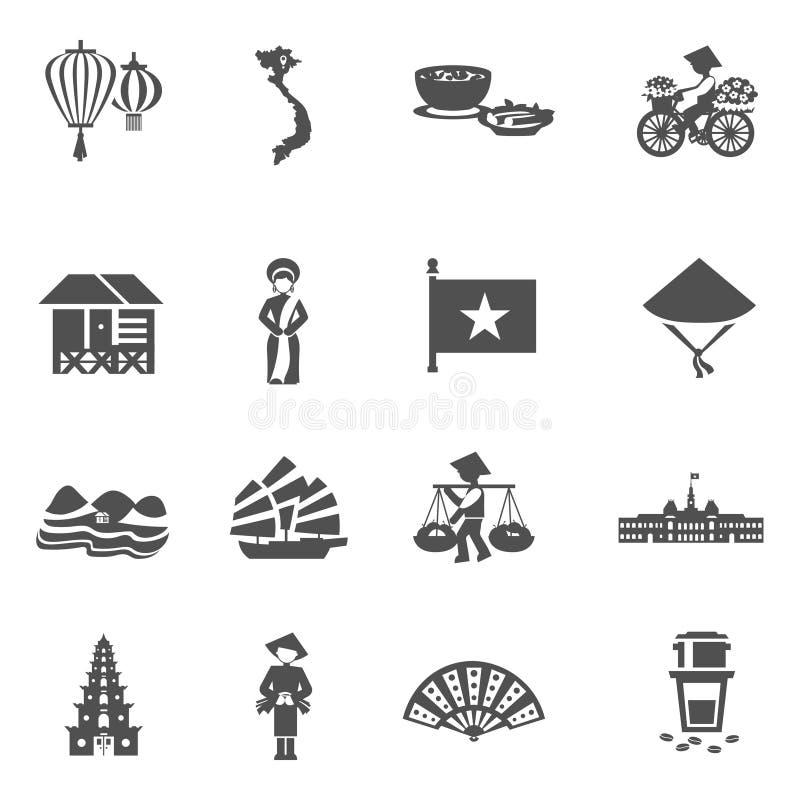 Wietnamskie Czarne Białe ikony Ustawiać ilustracji