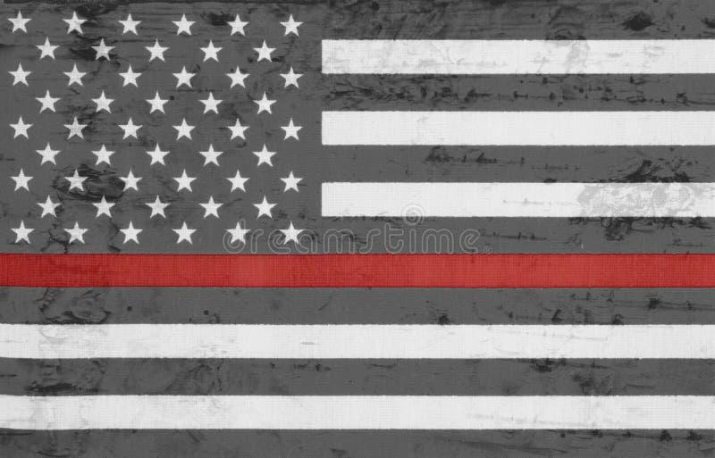 Wietrzejący Stany Zjednoczone Ameryka czerwonej linii cienka flaga obraz royalty free