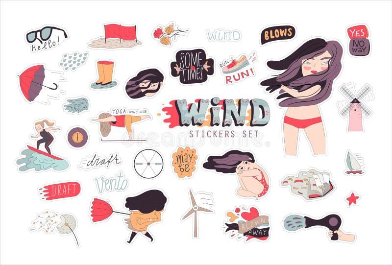 Wietrzna dziewczyna majcheru paczka 1 ilustracji