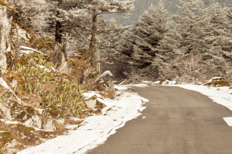 Wietrznego śnieżnego mgłowego śliskiego błotnistego płaskiego kroka himalajska halna droga w zimie Leh Manali autostrada, Jammu i fotografia royalty free