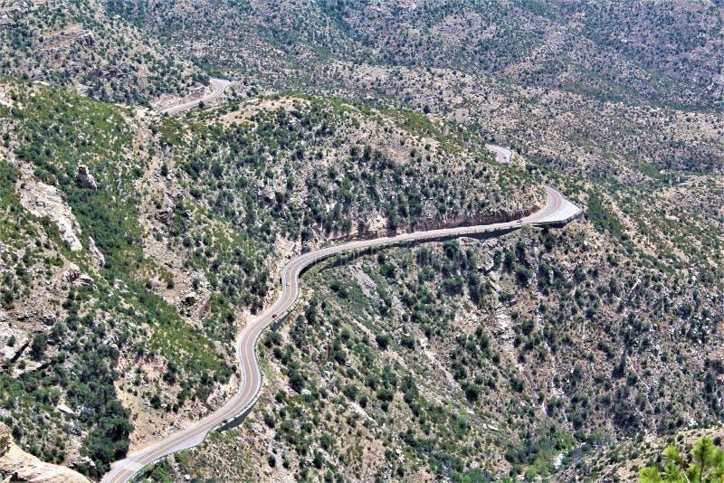 Wietrzny punkt Vista, góra Lemmon, Santa Catalina góry, Lincoln las państwowy, Tucson, Arizona, Stany Zjednoczone fotografia stock