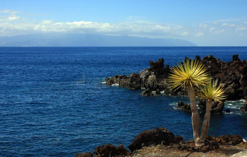 The wiev on La Gomera. Landscape in Puerto Santiago, Los Gigantes, Tenerife, Spain stock image