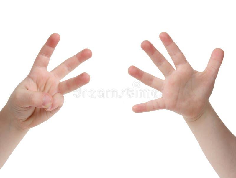 Wieviele Finger? stockbild