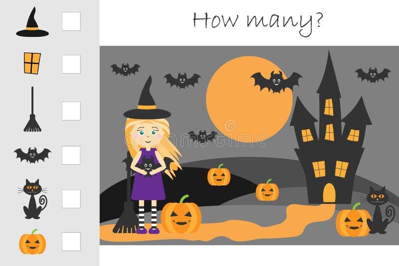 Wievielen Spiel, Halloween-Bild zählend für Kinder, pädagogisches Mathe für die Entwicklung des logischen Denkens eine Arbeit zuw lizenzfreie abbildung
