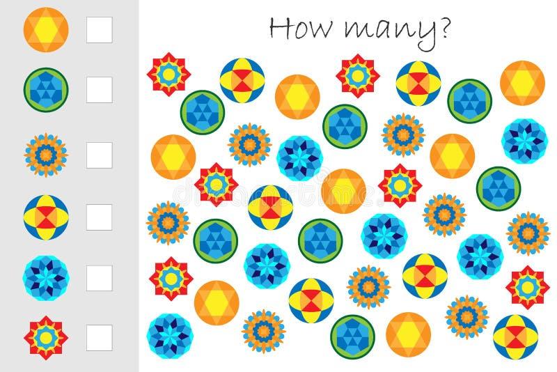 Wievielen Spiel mit Mandalen für Kinder zählend, pädagogisches Mathe für die Entwicklung des logischen Denkens eine Arbeit zuweis vektor abbildung