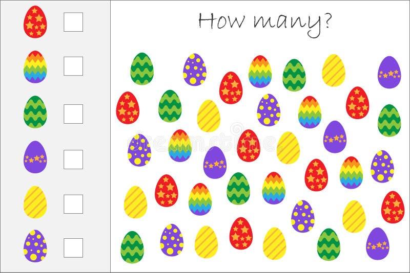 Wievielen Spiel mit Ostereiern für Kinder zählend, pädagogisches Mathe für die Entwicklung des logischen Denkens eine Arbeit zuwe vektor abbildung