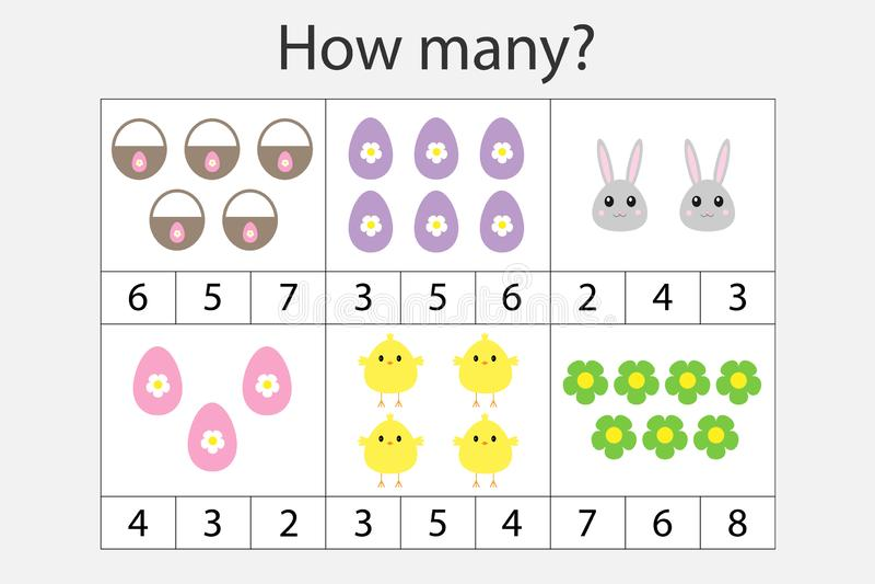 Wievielen Spiel mit Ostern-Bildern für Kinder zählend, pädagogisches Mathe für die Entwicklung des logischen Denkens eine Arbeit  stock abbildung