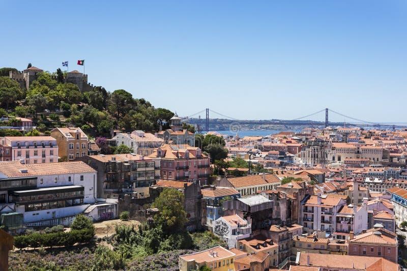 Wiew Лиссабона от нашей дамы Холма стоковые фотографии rf