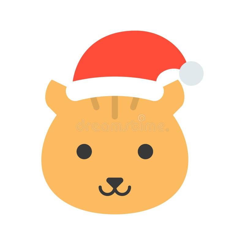 Wiewiórczy jest ubranym Santa ikony kapeluszowy płaski projekt ilustracji