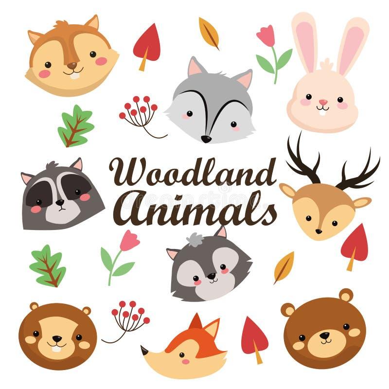Wiewiórczy szopowy bobra lisa królika reindeeer skunksowego niedźwiedzia wilka ico ilustracja wektor