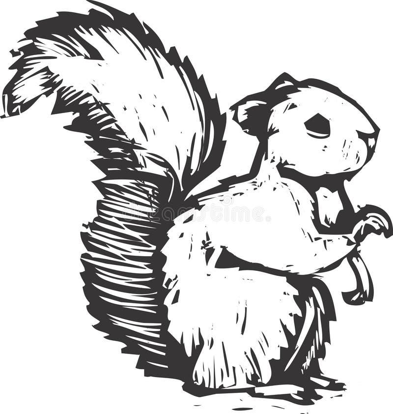 wiewiórczy woodcut ilustracja wektor