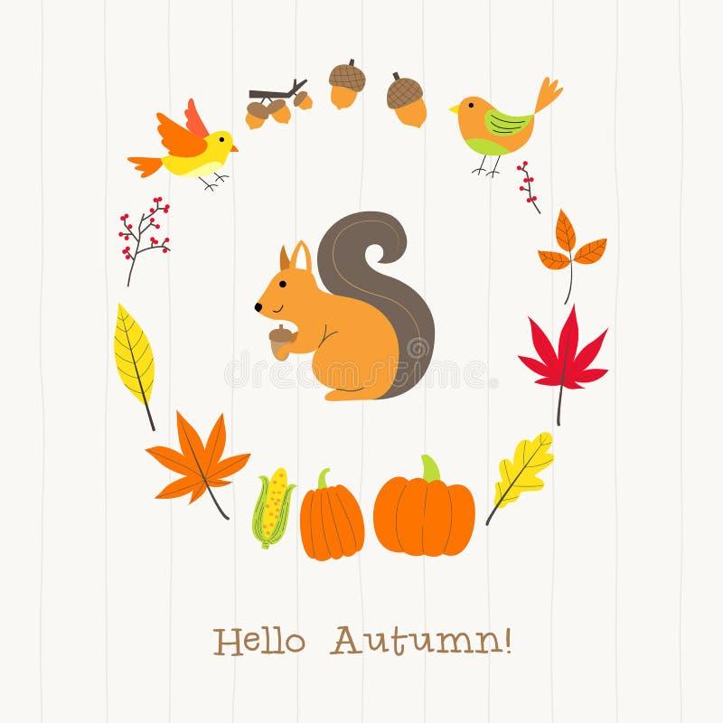 Wiewiórka z jesieni ramy kartą ilustracji