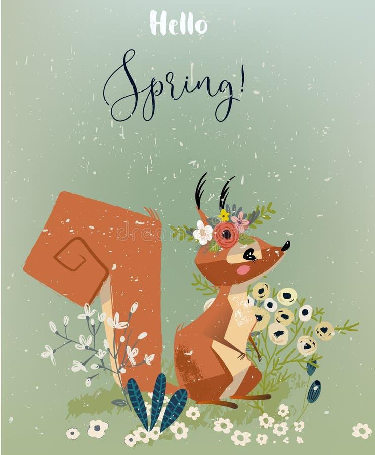 Wiewiórka z kwiatami ilustracja wektor