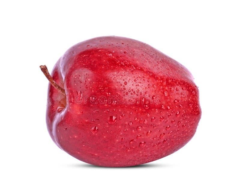 ?wiezi czerwoni jab?ka z kropl? odizolowywaj?c? na bia?ym tle woda zdjęcia royalty free