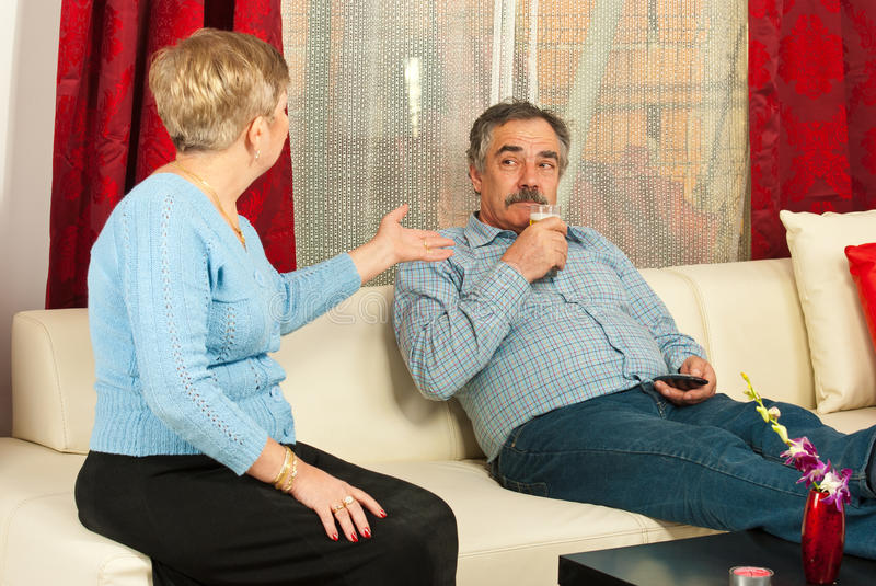 Wife arguing mature husband royalty free stock images