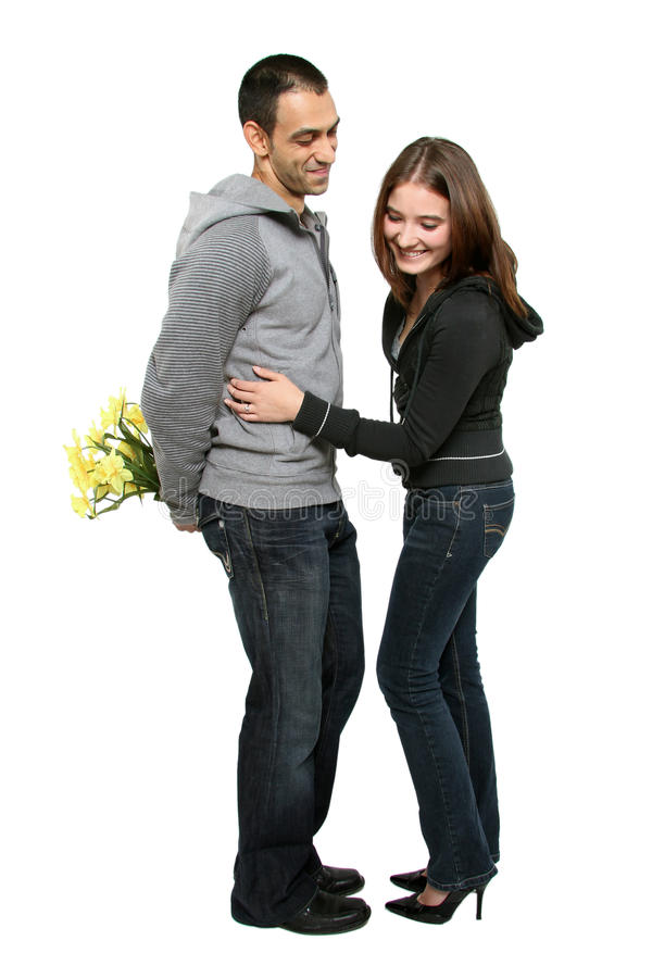 Wife looking for flowers stock images