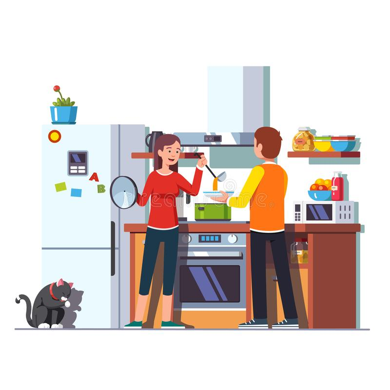 Wife pouring soup with ladle into bowl for husband vector illustration