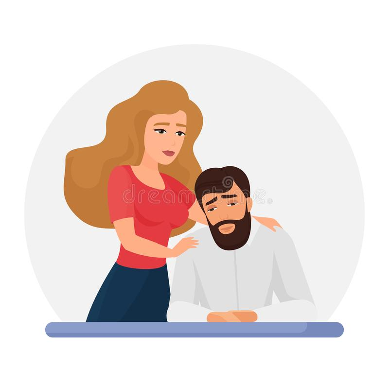 Wife supporting depressed husband flat vector illustration. Mental disorder, psychotherapy concept. Girlfriend consolation sad boyfriend cartoon characters royalty free illustration
