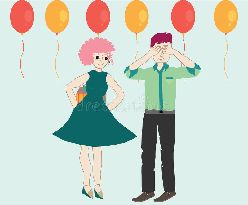 Wife surprises husband. On his birthday a with gift and balloons royalty free illustration