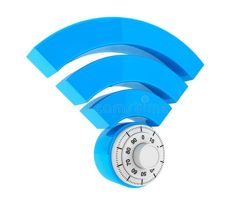 WiFi互联网安全概念 3d与挂锁的标志wifi 向量例证