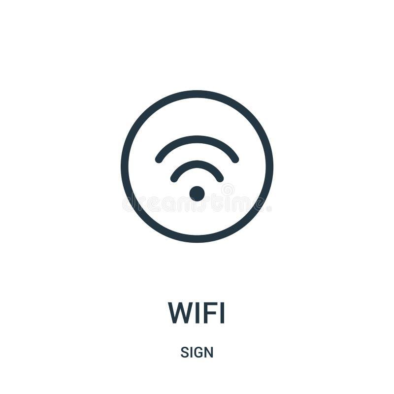 wifi从标志汇集的象传染媒介 稀薄的线wifi概述象传染媒介例证 库存例证