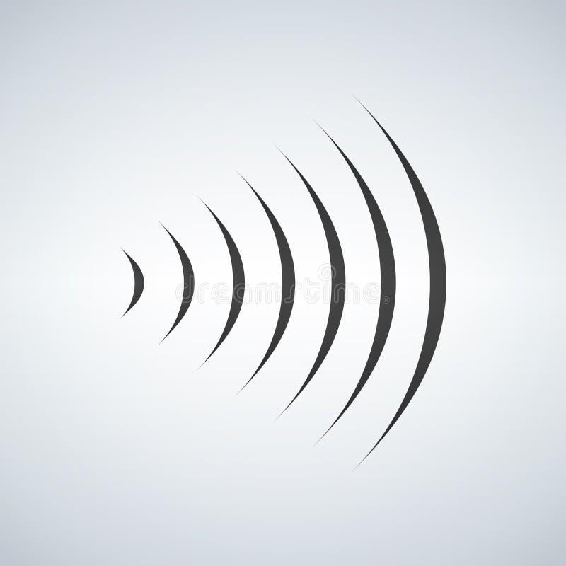 wifi伴音信号连接,声音广播波浪商标标志 在现代背景的例证