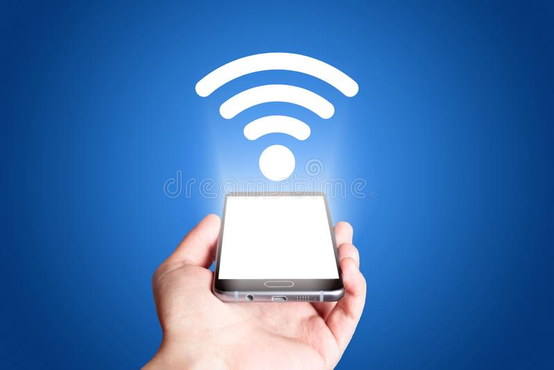 Wifi图标 背景蓝色移动电话 库存图片