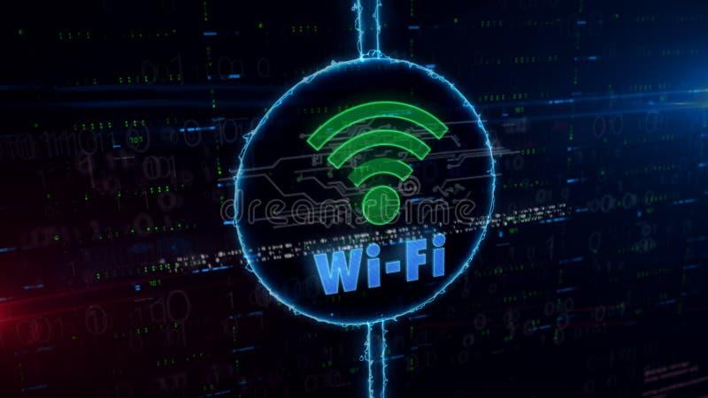 Wifi在电圈子的通信全息图 向量例证