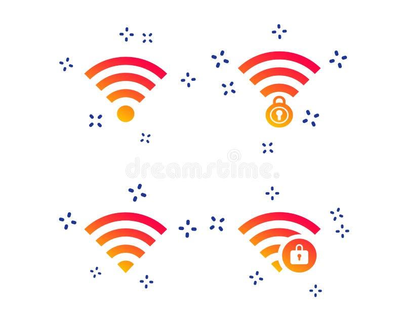 Wifi无线网络象 被锁的Wi-Fi区域 ?? 库存例证