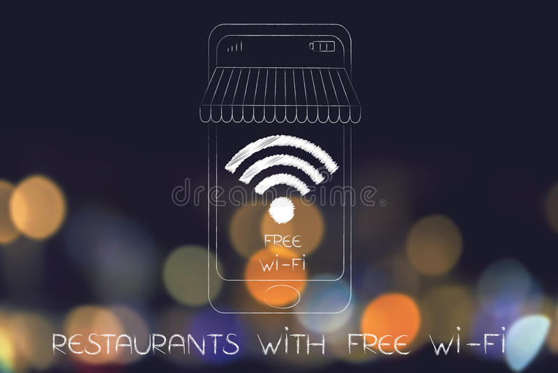 有自由wi-fi概念的餐馆:wifi标志到有镶边酒吧遮篷的智能手机屏幕里图片