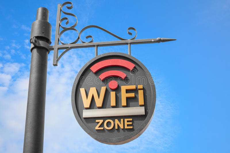 WiFi热点标志杆 免版税图库摄影