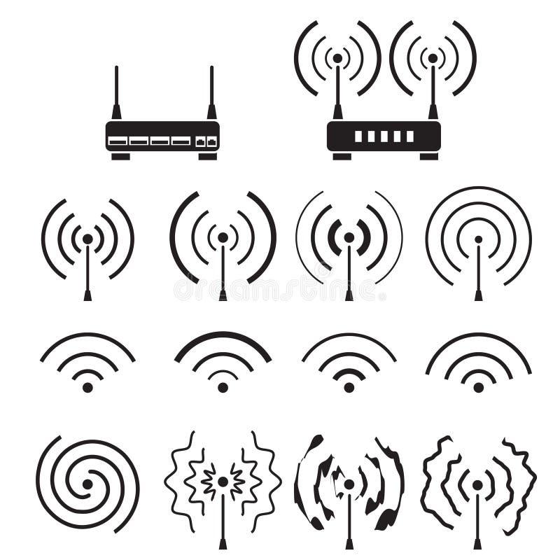 wifi的汇集和无线信号波浪和一些传染媒介路由器 向量例证