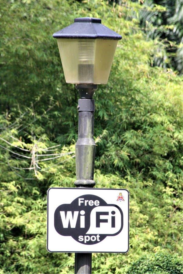 WiFi自由斑点灯杆在公园 免版税库存照片