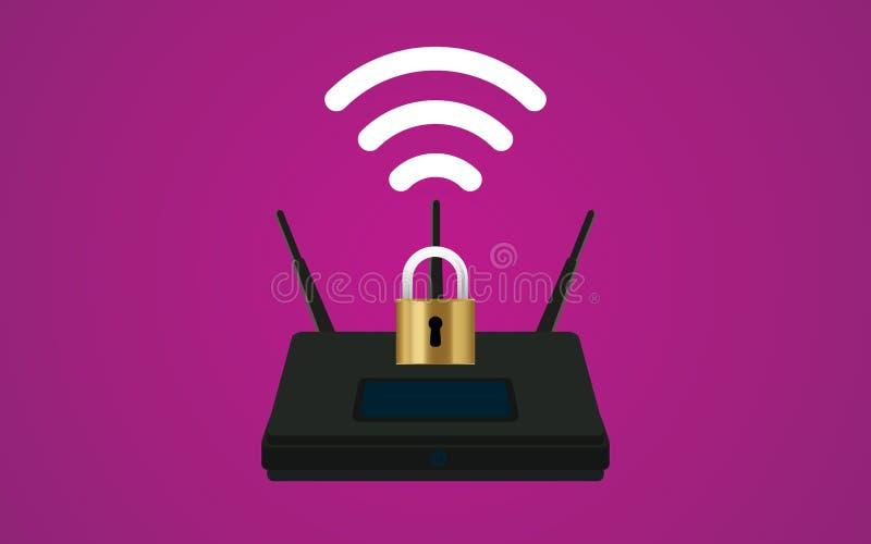 Wifi路由器与挂锁和信号标志的安全例证 库存例证